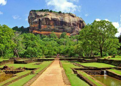 De leeuwenrots van Sigirya in Sri Lanka.